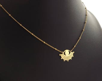 """""""Cosmic"""" geometric necklace brass gilded with gold 24 carats, jewel finely cut and engraved"""