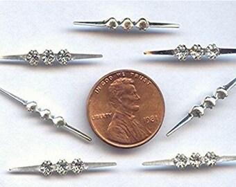 """12 Vintage Austrian Crystal 3 Rhinestone 1"""" Silver Apparel Bars R244"""