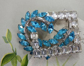 Vintage Square Multi-Level Clear & Sky Blue Rhinestone Brooch     OAH18