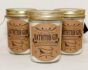 Bathtub Gin Candle, Martini Candle, Soy Candles, Jelly Jar Candles, Prohibition Decor, Container Candles, Alcohol Gifts, Booze Gifts