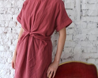 Berry Dress (More colours available) -Dusty Pink linen dress /twist dress /summer linen dress