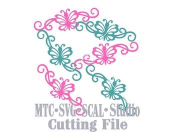 SVG Cut File Butterfly Flourish Set #01 Design #07 Spring MTC Cricut SCAL Silhouette Cutting File