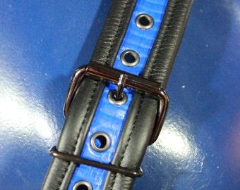 Fantastic Blue Snake Sam Browne belt with Gunmetal Hardware
