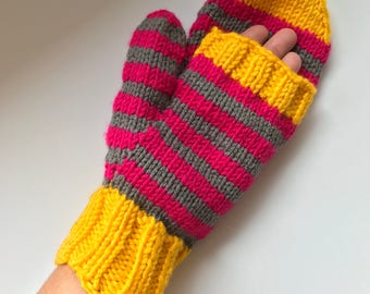 Flip-Top Convertible Mittens in Gold, Charcoal Grey, and Fuchsia Stripe