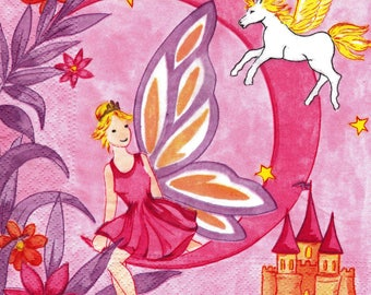 559 little fairy on a Crescent Moon pattern 4 X 1 towel lunch size paper
