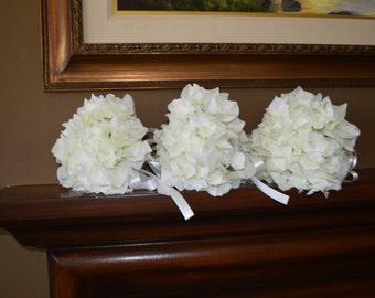 Brides Maids Bouquets, Hydrangea Bouquets, wedding bouquets, white bouquets, white hydrangea bouquet