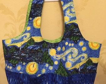 "Van Gogh ""Starry Night"" Cotton Purse/Beach Bag/Tote with 6 Outside Pockets!"