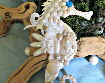 White shell seahorse_coastal chic seahorse_beach decor elegance
