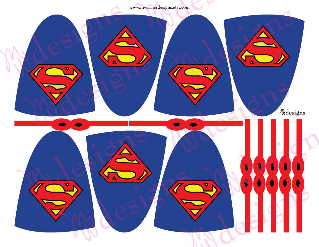 Superman lollipop capes and masks superhero party instant for Superhero lollipop cape template