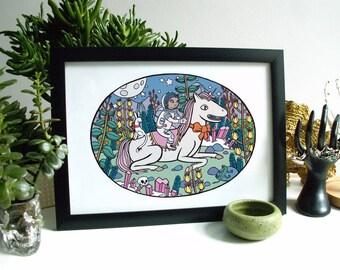 Space Unicorn A4 Fine Art Print. Pastel. Fairy tale. Sweet. Fantasy. Limited Edition