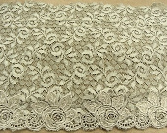 LACE of CALAIS - 13 cm - taupe and Brown