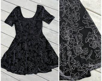 90's Black Velvet Skater Dress, S/M