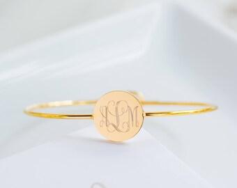 Monogram Bracelet, Custom Name Bracelet, Initial Bracelet, Personalized Jewelry, Monogram Jewelry, Engraved Bangles