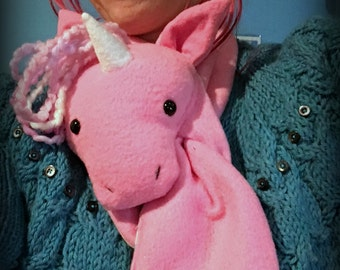 Animal Scarf, Short or X-Long Unicorn Stuffed Animal Pink with Magical Rainbow Hair for kids or adults MADE TO ORDER