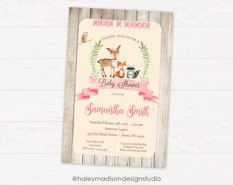 Floral Woodland Baby Shower Invitation, Rustic Woodland Baby Shower, Whimsical, Girl Baby shower DIGITAL FILE HM112