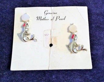1950s Vintage NOS Seal Figural Brooches on Original Card Genuine Mother of Pearl