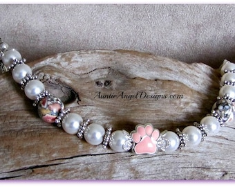Canine cancer awareness jewelry, pink paw print bracelet, pink paw K9 cancer bracelet, fight canine cancer bracelet, canine cancer jewelry