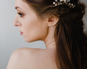Gold Bridal Hair Pin | Wedding Hair Pins | Pearl Hair Pin | Gold Hair Pins | Pearl Bridal Headpiece | Crystal Hair Piece | Gold Poppy Pin