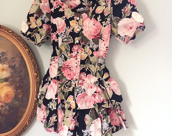 Ruffles and roses vintage little girls dress