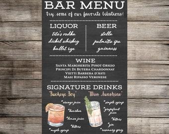 Watercolor Signature Drink Sign and Bar Menu 11x17