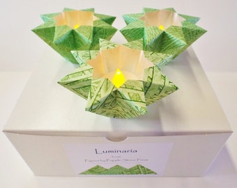 Set of Three Luminaria-Hand-painted, Origami-folded Paste Papers - 3 Spring Greens