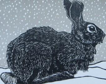 Woodblock print: Rabbit in the Snow