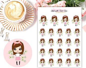Amelie kawaii PAY DAY planner stickers || Erin Condren Life Planner, Kikki K, Plum Paper Planner