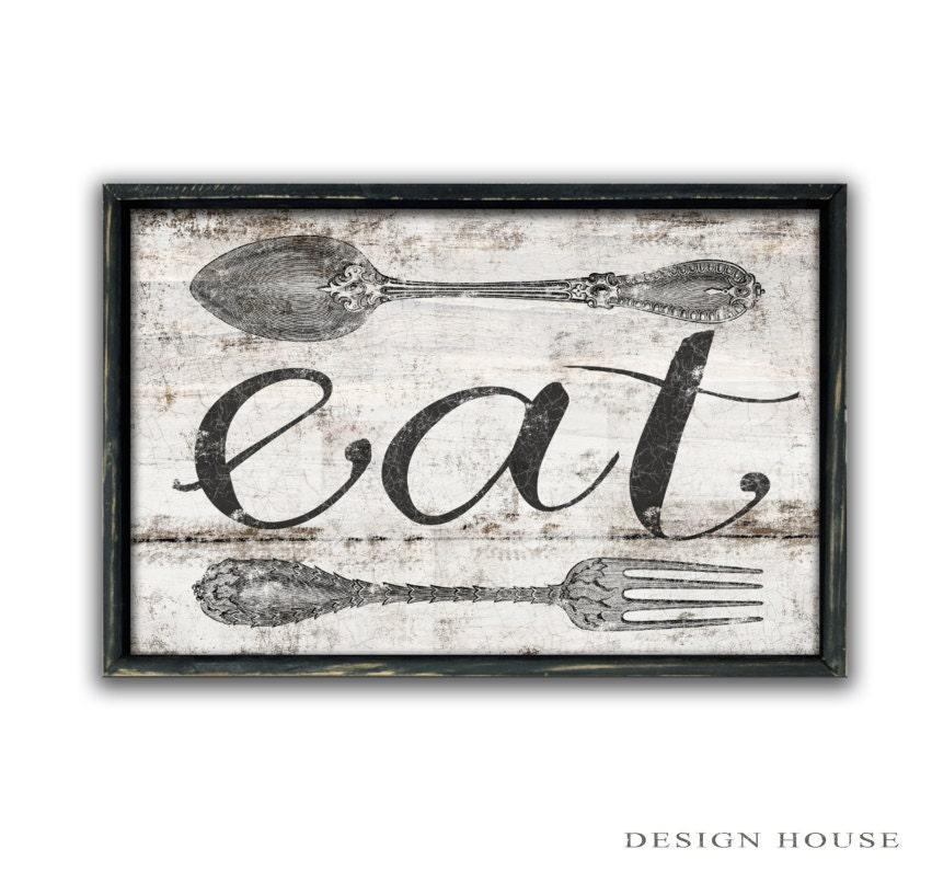 Eat sign kitchen sign eat wooden sign kitchen art kitchen wall