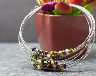 Guitar String Bracelet, Handmade Jewelry, Silver, Purple and Green, Wire Wrapped Beaded Bangle, Unique Musician Gift for Her, One of a Kind