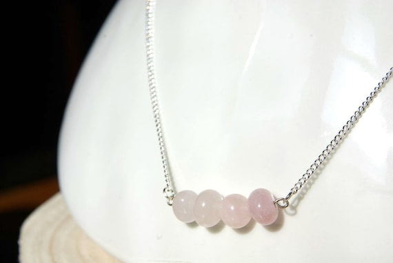 Rose Quartz Bar Necklace on 925 Silver, Crystal Jewelry, Gemstone Bar, Gift for Her, Love Stone, Crystals Necklace, Birthstone Jewel