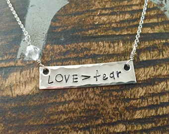 Love>fear Necklace Bar Necklace Love>fear Jewelry Handstamped Necklace Handstamped Jewelry Engraved Bar Necklace