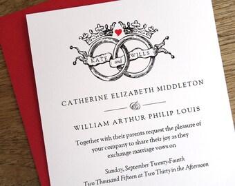 Printable Wedding Invitations - Black & White Vintage Rings - Crown Wedding Invite - Royal Wedding Invitations - Vintage - Instant Downlaod