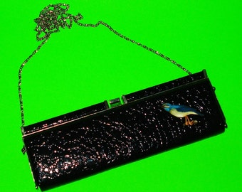Bluebird Vintage Refurbished Rockabella Bird Love Classic Purse One of a Kind Clutch