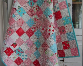 Aqua, Pink and Red Scrappy Baby Girl Checkerboard Quilt - Toddler, Crib