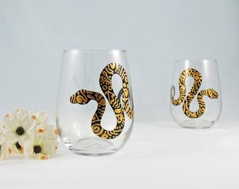 Snake wine glasses - Hand painted stemless glasses  - Set of 2