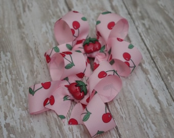 Cherry Hair Bows Pink Boutique Pigtail Set of 2 Hairbows Cherries