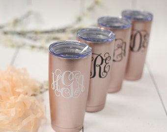Personalized Rose gold Swig stainless steel tumbler with lid. Custom gift. Rose gold. Personalized cup with name. 20 ounce tumbler with lid
