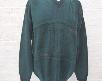 Slouchy jumper hipster top wool sweater grunge pullover city top grandad jumper vintage clothing green top sweater gift 90s clothes mens uk.