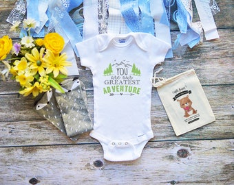 You are our Greatest Adventure Baby Onesie® Cute Outdoor Hiking Camping Baby Boy & Girl Clothes - Infant Newborn Clothes - Mountain - M144
