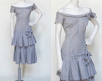 1950s Gingham Dress ---Vintage Large Dress
