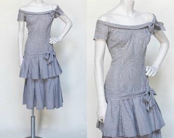 1950s Gingham Dress ---Vintage Large Dress