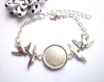 x support silver plated cabochon 20 mm, angel wing and bird bracelet