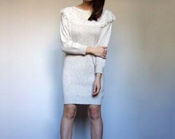 Sweater Dress Women Off White Dress Cosy Knit Dress Lace Collar Dress Vintage Winter Dress - Medium