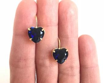 Sapphire Heart Crystal Earrings in 18k gold plated