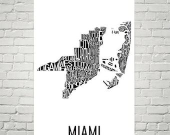 Miami Typography Neighborhood Map Art City Print, Miami Wall Art, Miami Art Poster, Gifts, Map of Miami, Miami FL, Miami Florida, Miami Map