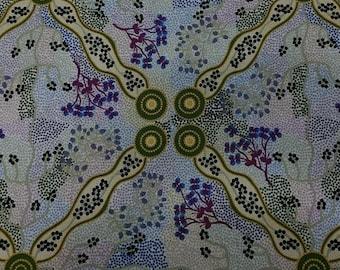 Australian Fabric - Bush Tomato - Aboriginal Fabric - Yuendumu Bush Tomato Ecru by A M Napanangka - Priced by the half yard