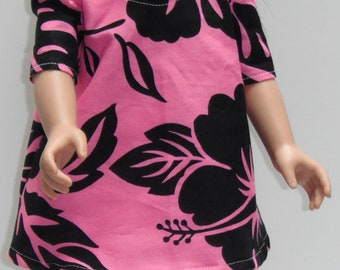 "Pink and Black Hibiscus Top & Pants/Trousers Outfit 18"" SLIM Doll Clothes"