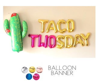 TACO TWOSDAY Balloons, Rose Gold, Pink, Gold, Silver, Blue, Number Two, 2, Second Birthday Party Photo Shoot Booth Decoration Pink, Cactus