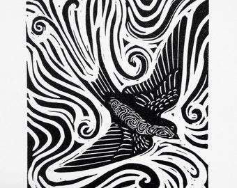 Swallow - golondrina linocut print