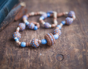 Ceramic necklace vintage, bohemian long necklace with blue dot beads, pottery ceramic jewelry, Mother's day gift, boho brawn blue jewelry